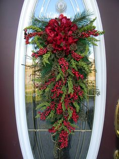 "Christmas Swag Decorations | Christmas Teardrop Swag Door Decor..""Seasons Greetings"" Use All Winter ..."