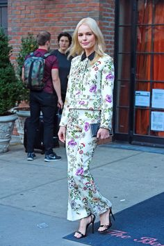 Daily Style Directory: Kate Bosworth in a floral trouser suit