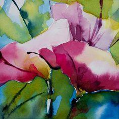 Petit instant N°184 (Peinture),  10x10 cm par Véronique Piaser-Moyen Aquarelle originale sur papier 300 G