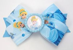 Blue Princess Hair Bow  Boutique Hair Bow  by JustinesBoutiqueBows