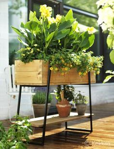 Raised grow box, pine, by Kekkilä. Terrace Garden, Lawn And Garden, Garden Art, Garden Design, Home And Garden, Potted Garden, Garden Ideas, Outdoor Balcony, Outdoor Plants