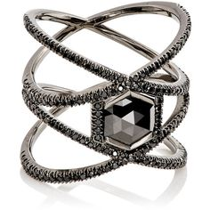 Eva Fehren Women's XX Ring ($12,975) ❤ liked on Polyvore featuring jewelry, rings, accessories, anel, no color, pave band ring, 18 karat white gold ring, white gold pave ring, cut out ring and hexagon ring