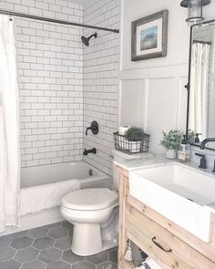Resolve your small-space issues with these basic solutions for bathrooms. image This Small Bathroom Remodel Will Actually Stun You . Hall Bathroom, Upstairs Bathrooms, Bathroom Renos, Laundry In Bathroom, Basement Bathroom, Bathroom Flooring, Hexagon Tile Bathroom Floor, White Subway Tile Bathroom, Tub Tile