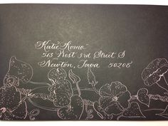 Pink calligraphy, decorated envelope