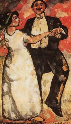 "(Another exuberantly joyous bridegroom and less than joyous bride) Kazimir Malevich, ""Argentine Polka,"" 1911"