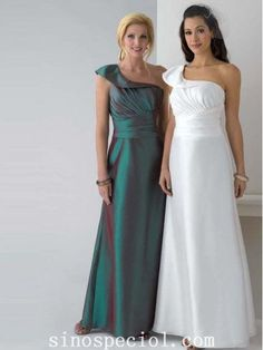 Charming A-line One-shoulder Floor Length Matte Satin Mother of Bride Dress