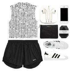 """Sem título #568"" by andreiasilva07 ❤ liked on Polyvore featuring mode, Monki, NIKE, adidas, PhunkeeTree, Comme des Garçons en Pelle"