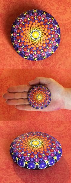 """Mandala Stone (Junior) by Kimberly Vallee: Hand painted with acrylic and protected with a matt finish, this """"junior"""" stone is a bit smaller than my usual stones, at about 2"""" diameter. It is one-of-a-kind."""