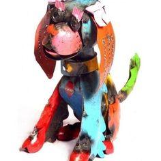 Dog+Yard+Art+Recycled+Tin+sculpture+statue+unique+metal+lawn+ornament+garden