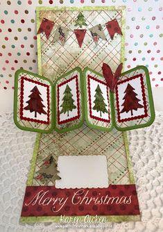 Painted Mountain Cards - Karen Aicken #Designerchallenge Twist Panel Pop-Up Card INSIDE, using the Twist Panel Pop-Up and Winter Charms for the trees. All dies by Karen Burniston.