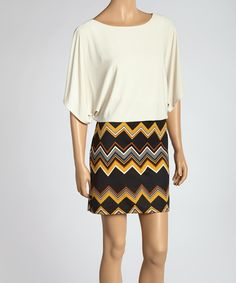 Take a look at this Ivory & Gold Zigzag Dress on zulily today!