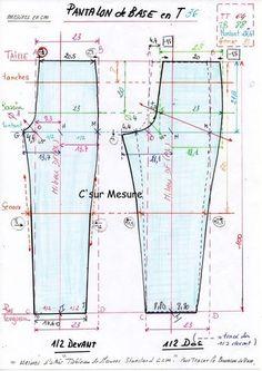 pour une Taille 36 (TB csm) le tableau de Mesures csm, et les Bases corsage puis pantalon en schémas !