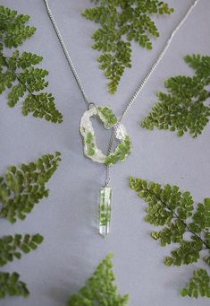 Fern leaves necklace Geode slice resin pendant crystal point jewelry