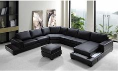 Ritz Sectional Sofa Modern Black Leather by Divani Casa . Buy this luxurious black leather sectional sofa brought to you by Divani Casa. It is a comfortable, spacious, and stylish sofa to enhance the look of your living room. U Shaped Sectional Sofa, Sectional Sofa With Chaise, Leather Sectional Sofas, Modern Sectional, Black Sectional, Black Sofa, Large Sectional, Leather Ottoman, Corner Sectional