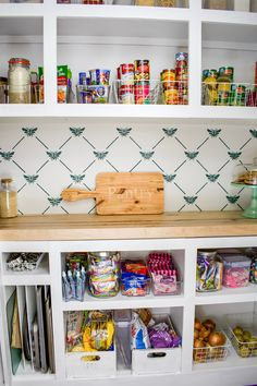 Easy Pantry Makeover on a DIY Budget Craftsman Window Trim, Diy Cabinets, Pantry Cabinets, Fancy Kitchens, Pantry Makeover, Small Pantry, Butcher Block Countertops, Built In Bookcase, Cool Chairs
