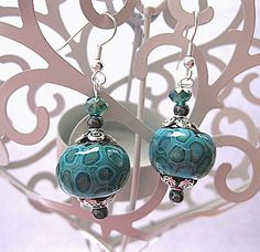 Turquoise Faux Lampwork  Polymer Clay Earrings £5.00