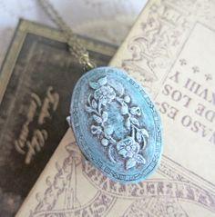 Blue Bridesmaids Necklace Locket  Tiffany Blue by Jewelsalem