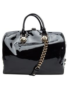 Versace patent leather bowler bag.