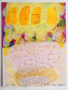 painting rain yellow gold original on paper acrylic by eeliethel, $35.00