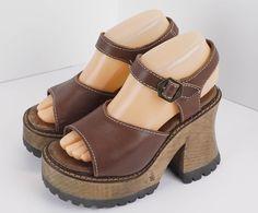 London Underground Womens Brown Leather Platform Open Toe Shoe Size 7 Retro #LondonUnderground #OpenToe #Casual