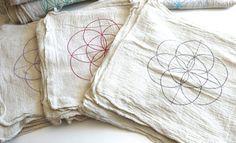 SEMILLA de vida---1 paño de rejilla de cristal---natural---100% algodón, plantilla de cuadrícula de geometría sagrada