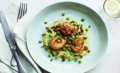 SEARED SCALLOPS WITH MINT, PEAS, AND BACON on epicurious - Buttery scallops and smoky bacon are balanced by sweet peas and lively mint in this company-worthy dish. All you need is one pan, a handful of ingredients, and 22 minutes to pull it off. Bacon Recipes, Fish Recipes, Seafood Recipes, Dinner Recipes, Cooking Recipes, Healthy Recipes, Dinner Menu, Healthy Options, Healthy Meals