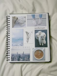 I would love to make a scrapbook like this. Take my own pictures and make a page with a similar color scheme. Album Photo Polaroid, Faire Un Album Photo, Pale Tumblr, Notebook Collage, Ideas Scrapbook, Album Photo Scrapbooking, Cute School Supplies, Wreck This Journal, Binder Covers