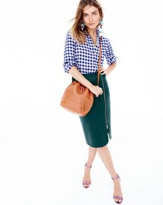 OCT '15 Style Guide: J.Crew women's zip pencil skirt, boy shirt in flannel check, blooming sequin paillette earrings, Downing bucket bag and glitter high-heel strappy sandals.