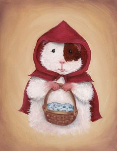 Little Red Riding Hood Guinea Pig Art Print via Etsy. - Off to grandmother's house we go! Little Red Riding Hood is all ready to venture into the forest with her gingham-draped basket of goodies.