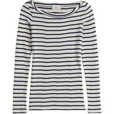 Closed Striped Cotton Pullover ($95) ❤ liked on Polyvore featuring tops, sweaters, stripes, white sweater, cotton sweater, boat neck sweater, striped pullover sweater and boat neck tops