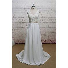 Sheath+/+Column+Wedding+Dress+Court+Train+V-neck+Chiffon+/+Lace+with+Appliques+–+USD+$+129.99