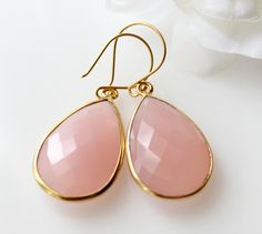 Pink Rose Chalcedony Drop Earrings Watermelon Pink  by ByGerene, $58.00