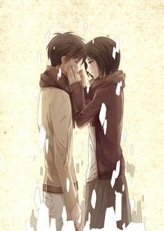 Eren & Mikasa. Attack on titan. 進撃の巨人. Shingeki no Kyojin. Anime. Illustration. Атака титанов. #SNK. #AOT