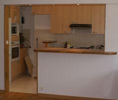 Tablette en planche de bois de grange recherche google - Ouverture mur cuisine salon ...