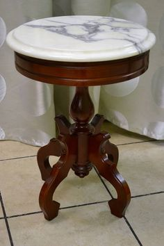 Small Round Carrera Marble Topped Table   Italy   X (slab Comes Off Top For  Tranport)