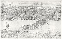 London Bridge - Anton van den Wyngaerde - c.1554-1557