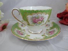1940s Collingwoods English Bone China Green Floral Teacup and Saucer