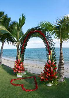 Wedding arch on the lawn