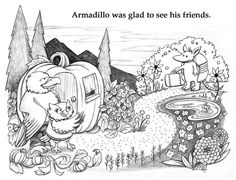 """""""Armadillo Goes West"""" - children's book illustration (still in the black and white stage)"""