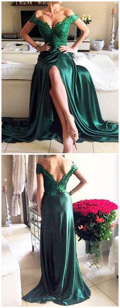 Dark Green Prom Dresses,Off Shoulder Prom Dresses,Sweep Train