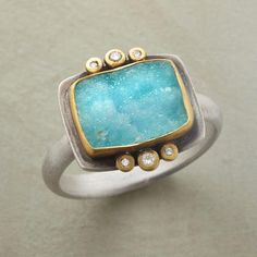Chrycocolla Ring   Chrysocolla druzy's defining characteristic is that no two are exactly alike. Ananda Khalsa frames each in matte 22kt gold, a diamond trio above and below. Handmade in USA of sterling silver.