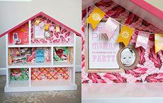rosa Puppenhaus Tapetenreste Zimmer selber machen