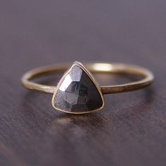 SALE Triangle Pyrite Gold Ring by friedasophie on Etsy