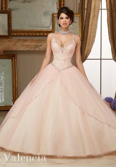 Morilee Valencia Quinceanera Dress 60002 BEADED LACE BODICE ON PRINCESS TULLE BALL GOWN  Matching Bolero Jacket. Colors Available: Scarlet/Champagne, Aqua/Champagne, Blush/Champagne (Color of this dress): Blush/Champagne