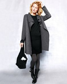 Gray Eileen Fisher Boiled Wool Coat, LBD, tights, short boots