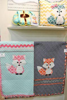 Riley Blake Fabrics Display at Quilt Market: Riley Blake Quatrefoil Fox Quilts #rileyblakedesigns #quatrefoil #fox