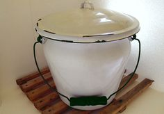 Blue on White Enamelware Extra Large Slop Bucket / Pail - With Lid and Wooden Handle - Vintage 1940s