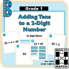 """This set of 36 printable cards will help students learn to add tens to a 2-digit number (CCSS 1.NBT.4). The """"1B"""" in the title stands for Grade 1, base ten domain. Dozens of other math card sets are available to use for matching activities. ~by Angie Seltz"""