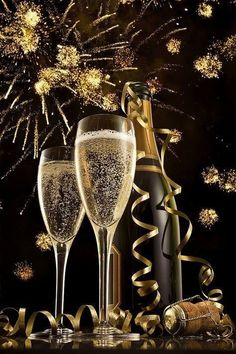 New-Years-champagne glasses-and fireworks Happy New Year Gif, Happy New Year Images, Happy New Year Greetings, New Year Wishes, New Year 2018, Quotes About New Year, New Year Celebration, New Years Eve Party, Christmas And New Year