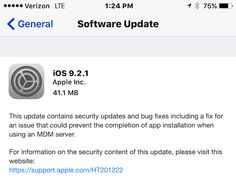 Apple Releases iOS 9.2.1 With Bug Fixes And Security Updates. #apple #ios #appdevelopers